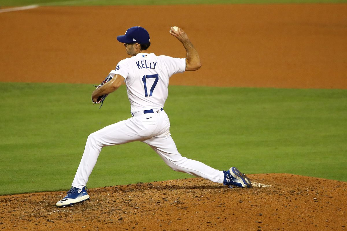 Dodgers pitcher Joe Kelly throwing from the mound