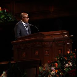 Elder Alfred Kyungu, a General Authority Seventy, speaks during the Saturday evening session of the 191st Semiannual General Conference of The Church of Jesus Christ of Latter-day Saints in the Conference Center in Salt Lake City on Saturday, Oct. 2, 2021.
