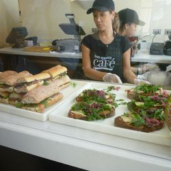 Delicious! The Missy Robbins Prosciutto sandwich on the left and the Michael White tuna sandwich on the right