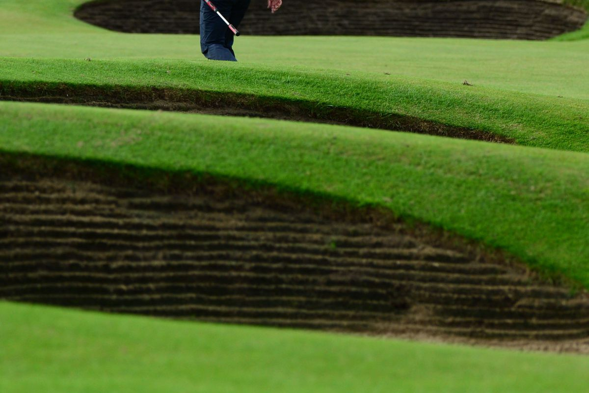 July 20, 2012; St. Annes, ENGLAND; Adam Scott walks to the green on the 18th hole during the second round of the 2012 British Open Championship at Royal Lytham & St. Annes Golf Club.  Mandatory Credit: Kyle Terada-USA TODAY Sports via US PRESSWIRE