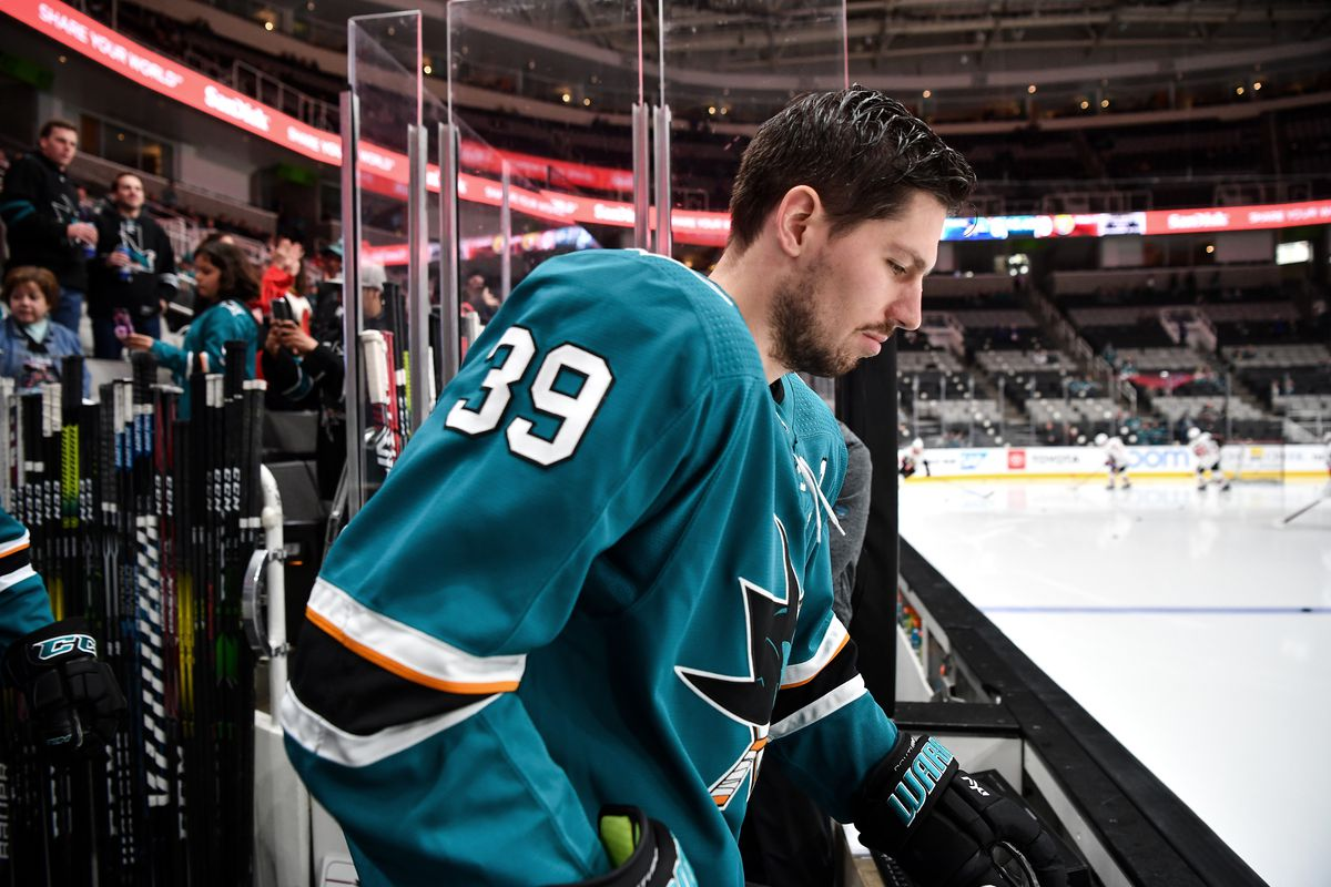 Logan Couture #39 of the San Jose Sharks takes the ice for warmups against the Ottawa Senators at SAP Center on March 7, 2020 in San Jose, California.
