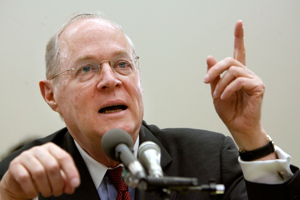 Supreme Court Justice Anthony Kennedy testifies before the House Financial Services and General Government Subcommittee on Capitol Hill on March 8, 2007, in Washington, DC.