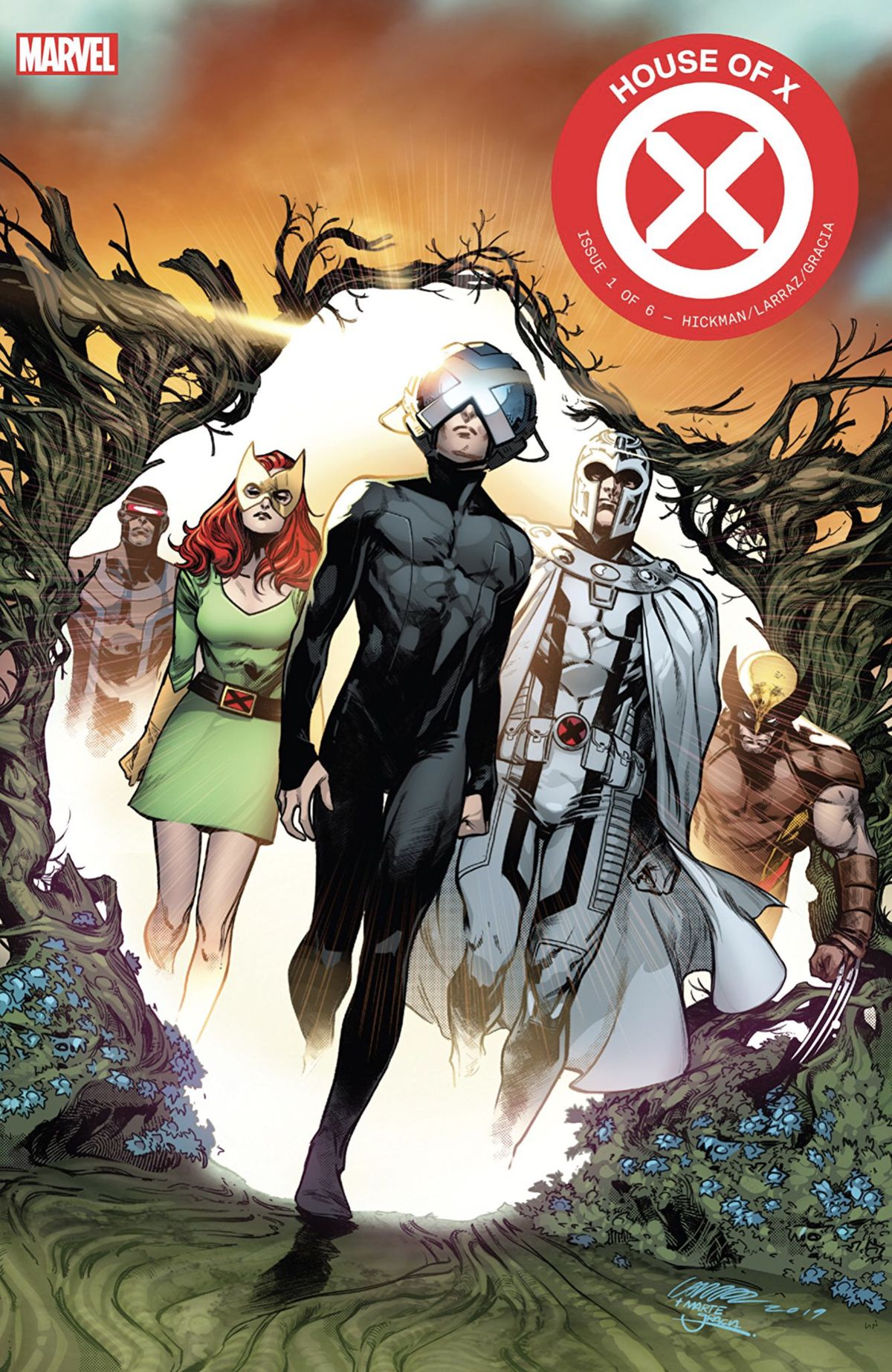 Professor X walks out of a Krakoa gate, flanked by Magneto, Jean Grey, Cyclops, and Wolverine, on the cover of House of X #1, Marvel Comics (2019).
