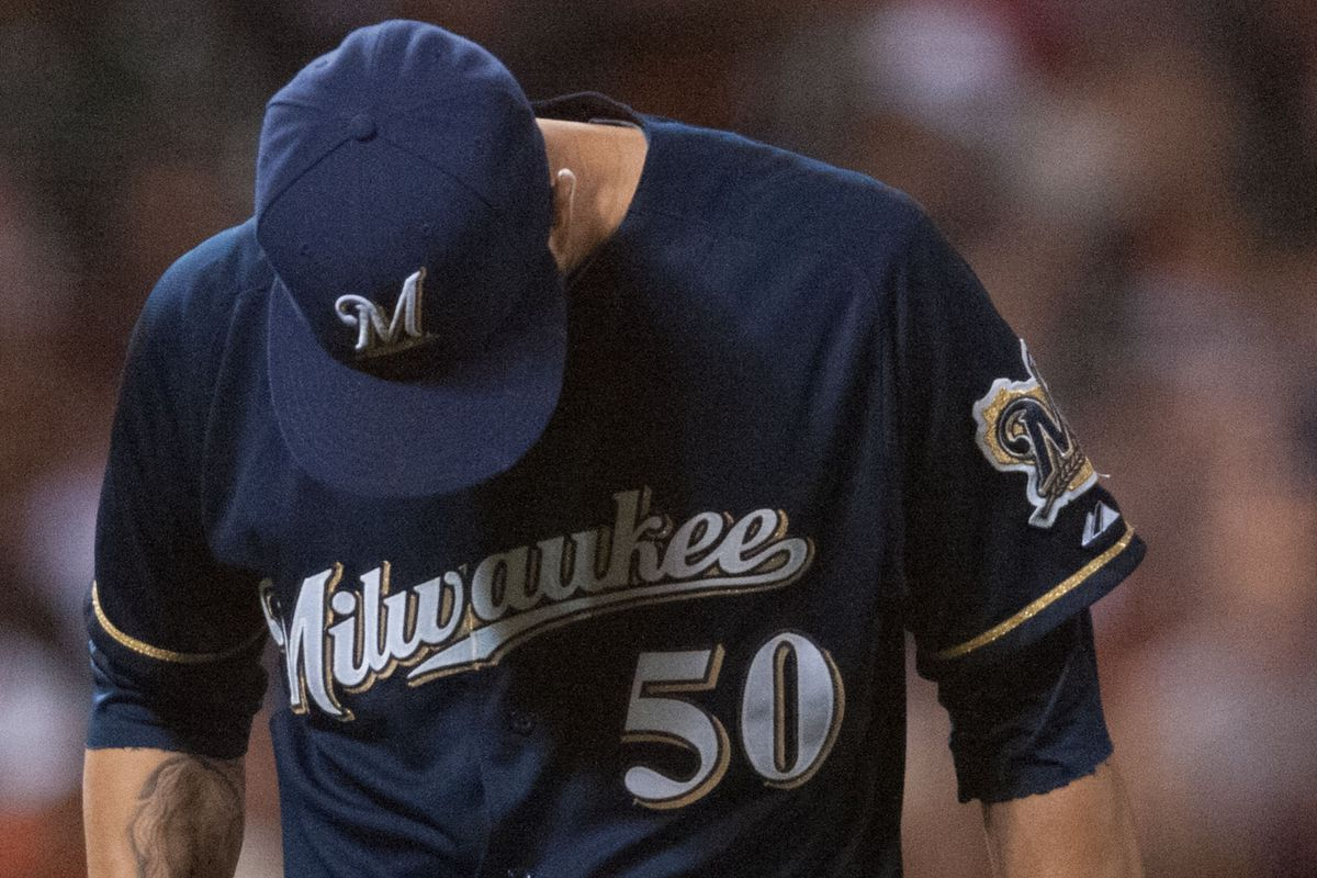 The Milwaukee Brewers after their West Coast trip in one photo.