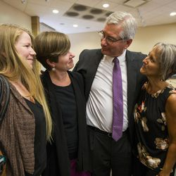 Carrie Held, Keri Hains Riker, Brian Horrocks and Trish Withus talk after their graduation from the World Spiritual Health Organization during their combined board certification and chaplain graduation ceremony at the William E. Christofferson, Salt Lake Veterans Home on Wednesday, Aug. 2, 2017.