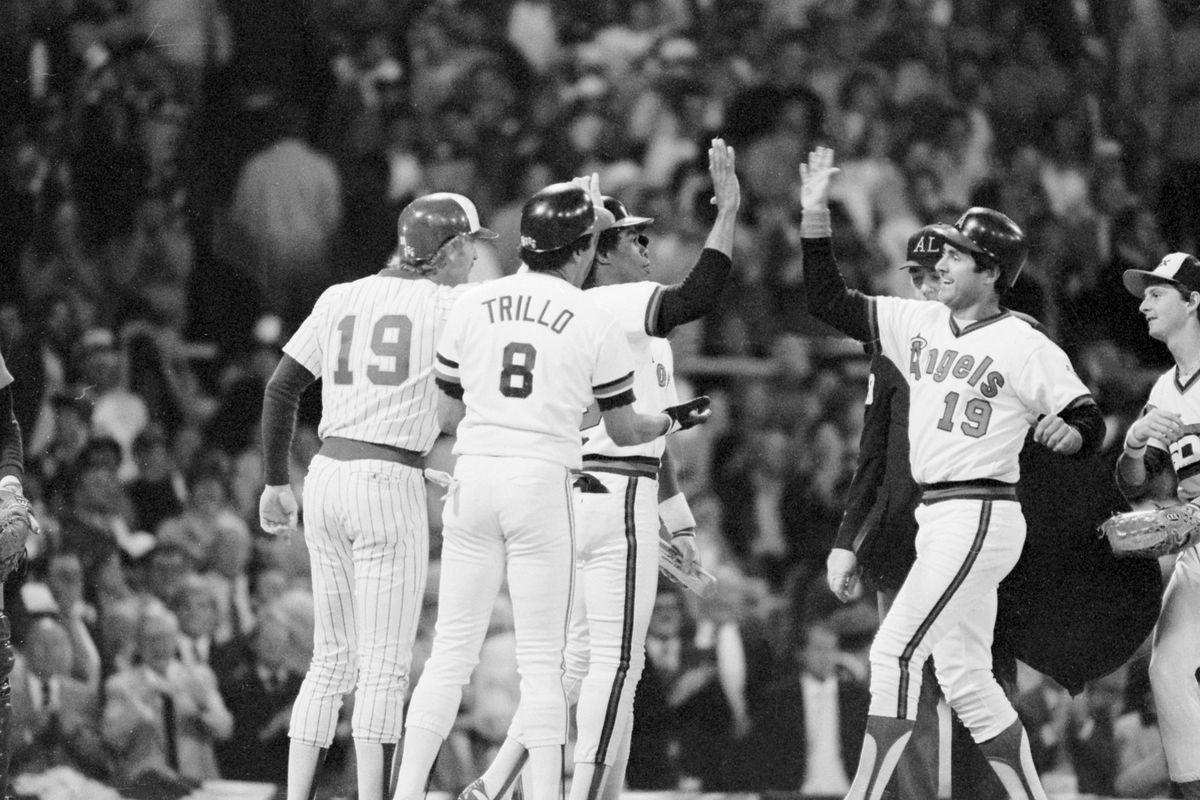 American League Teammates Greeting Fred Lynn