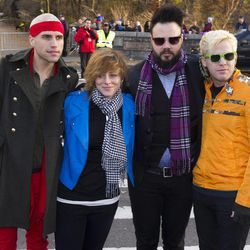 """Members of the band Neon Trees, from left, Tyler Green, Elaine Bradley, Branden Campbell and Chris Allen arrive to the Macy's Thanksgiving Day Parade in New York, Thursday, Nov. 22, 2012. Bradley recently released her own """"I'm a Mormon"""" video."""
