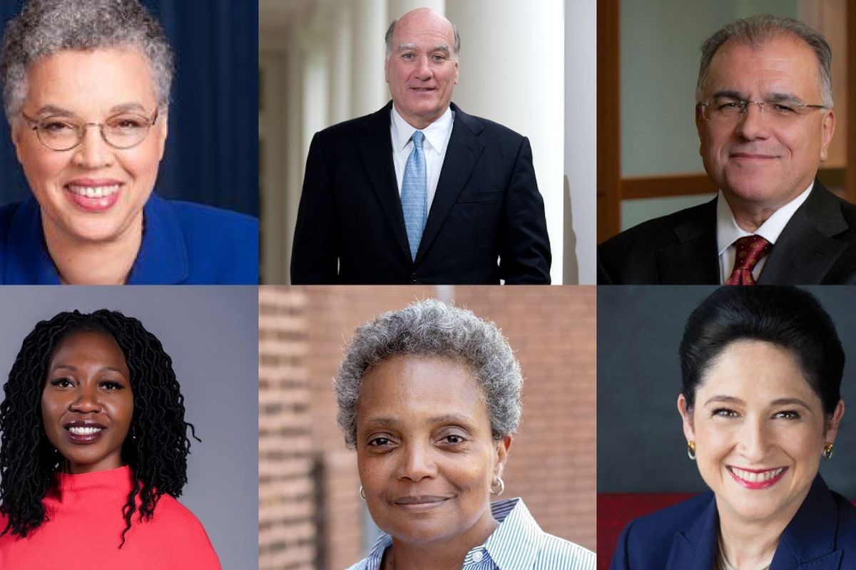 Chicago mayoral candidates (clockwise from upper left) Toni Preckwinkle, Bill Daley, Gery Chico, Susana Mendoza, Lori Lightfoot, and Amara Enyia