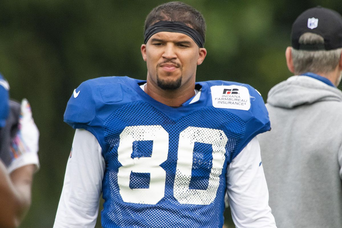 Indianapolis, Indiana, USA; Indianapolis Colts tight end Trey Burton (80) after a drill during colts training camp at the Farm Bureau Football Complex.