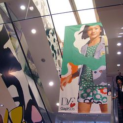 A giant DVF for GapKids banner dominates the airspace at the front of the store.