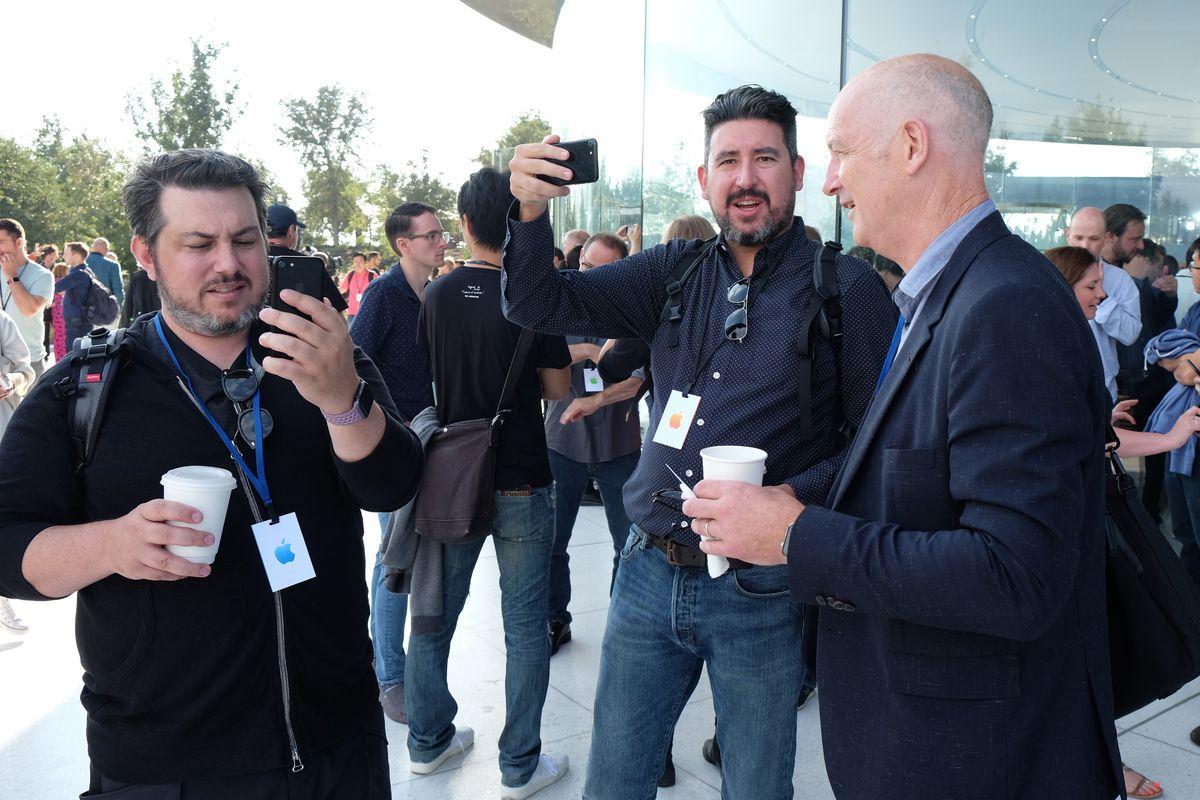 Matthew Panzarino, John Gruber, Charles Arthur at the Steve Jobs Theater at Apple Park, iPhone X event, Sept. 12, 2017