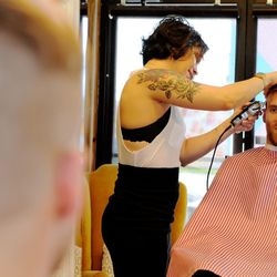 """Gabriel came in with a pre-groomed mane, so Diaz just tightened it up by finely trimming the sides and keeping it nice and long at the top with a slight side bend. """"You see a lot of guys doing the hard part on the side, very 1920s style, with a little bit"""