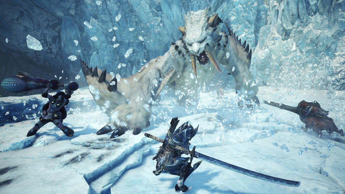 three hunters fighting a Barioth on ice in Monster Hunter World: Iceborne