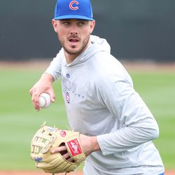Kris Bryant taking infield practice on Field 2 at the Under Armour Performance Center, the Spring Training home of the Chicago Cubs in Mesa, AZ. | John Antonoff/For the Sun-Times