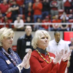 Tracy Majerus Dowd and Jodi Majerus, sisters of the late Coach Rick Majerus, attend a halftime tribute in honor of their brother at the University of Utah's Huntsman Center in Salt Lake City on Saturday, Feb.2, 2013. Coach Majerus, who passed away Dec. 1, coached the Utes from 1989-2004 — posting a 323-95 record and an appearance in the 1998 NCAA championship game.
