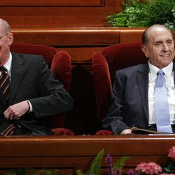 Presidents Thomas S. Monson and Henry Eyring smile at attendees priro to the 182nd Annual General Conference for The Church of Jesus Christ of Latter-day Saints in Salt Lake City  Sunday, April 1, 2012.