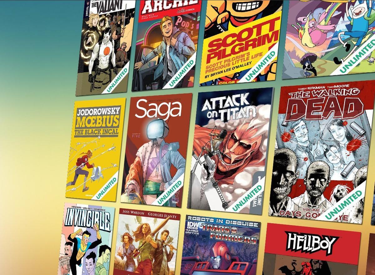 Digital comics couvre sur un fond dégradé bleu et jaune