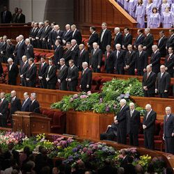 General Authorities sing during a congregational hymn during the 182nd Annual General Conference for The Church of Jesus Christ of Latter-day Saints in Salt Lake City  Sunday, April 1, 2012.