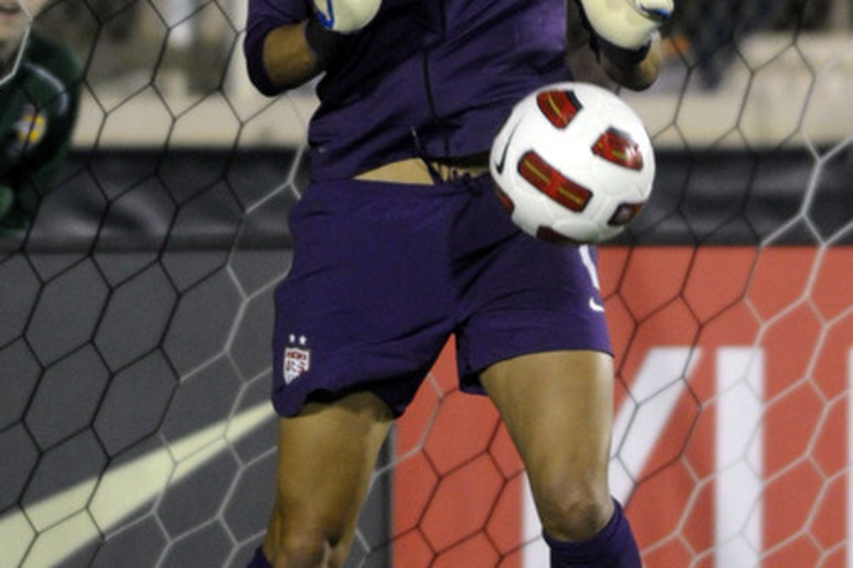 CARY, NC - MAY 18:  Goalie Hope Solo #1 of the United States blocks the ball from Japan on May 18, 2011at WakeMed Soccer Park in Cary, North Carolina. The United States won 2-0 over Japan. (Photo by Sara D. Davis/Getty Images)