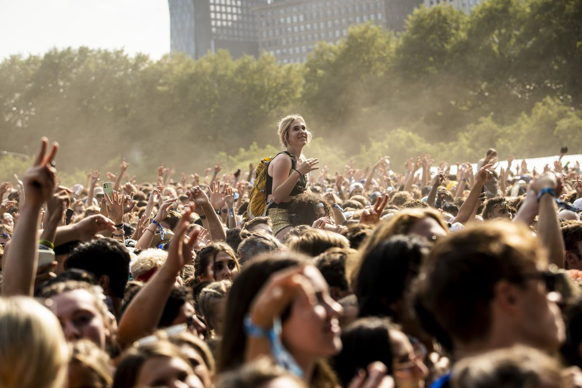 Fans cheer as Trippie Redd performs Saturday afternoon on day three of Lollapalooza in Grant Park.