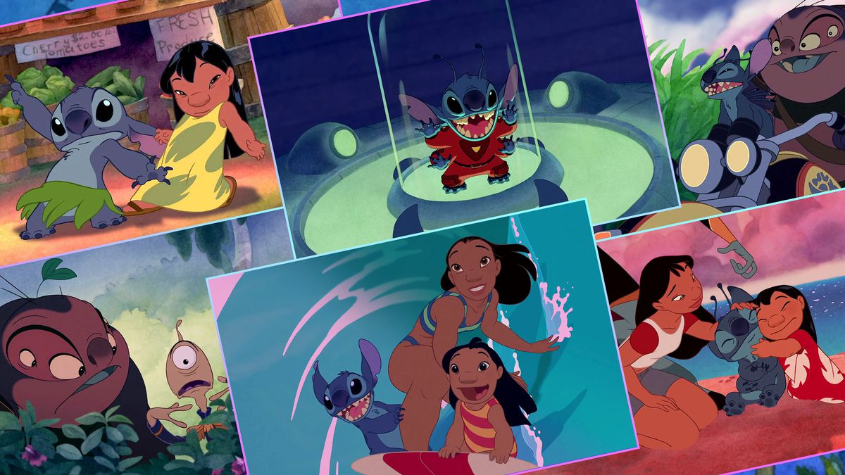 a grid featuring scenes from Lilo and Stitch