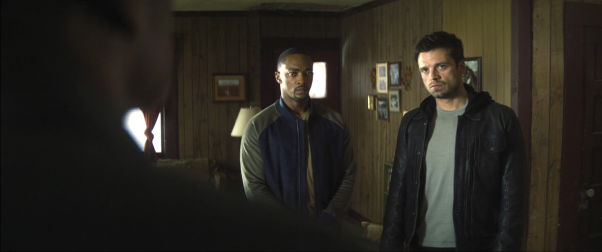 Sam Wilson/Falcon and Bucky Barnes/Winter Soldier in the house of Isaiah Bradley in The Falcon and the Winter Soldier episode 2.