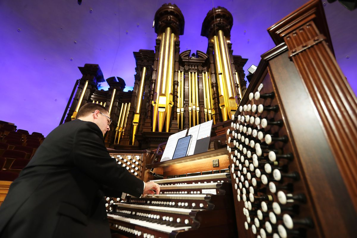 """Organist Brian Mathias plays the Tabernacle organ in Salt Lake City on Tuesday, June 16, 2020. The Tabernacle and Temple Square organists have performed weekly concerts in an online summer series called """"Piping Up."""""""