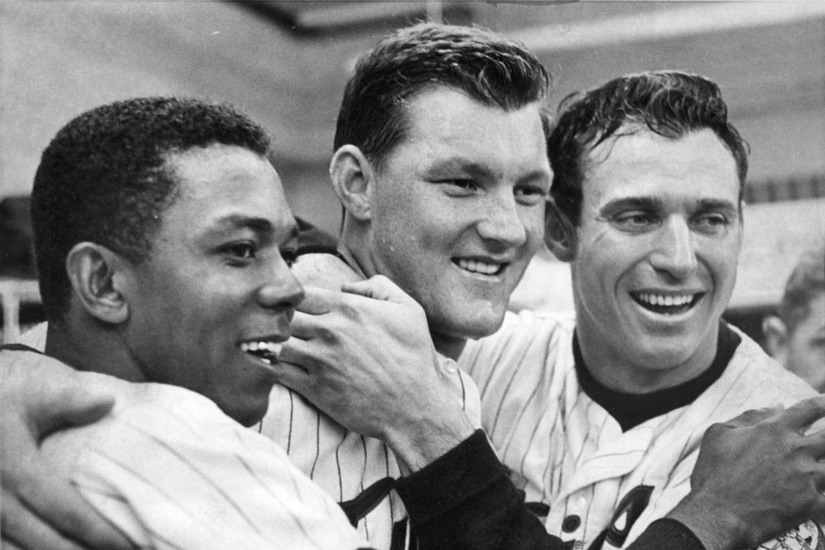 (left to right) Minnesota Twins baseball stars Tony Oliva, Jim Kaat, and Bob Allison are all smiles after a World Series game, October 7, 1965. Minneapolis Tribune (now Star Tribune) photo by John Croft.