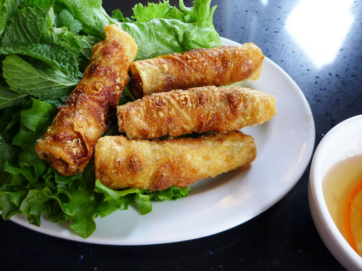 The pork stuffed cha gio are particularly large and luxurious.