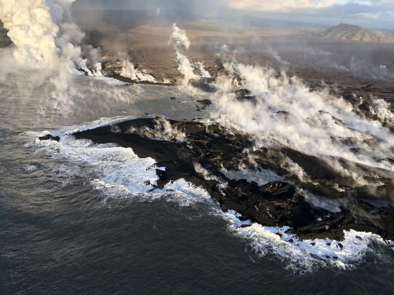 Lava from Kilauea volcano is creating new coastline in the Kapoho area on Hawaii's big island.