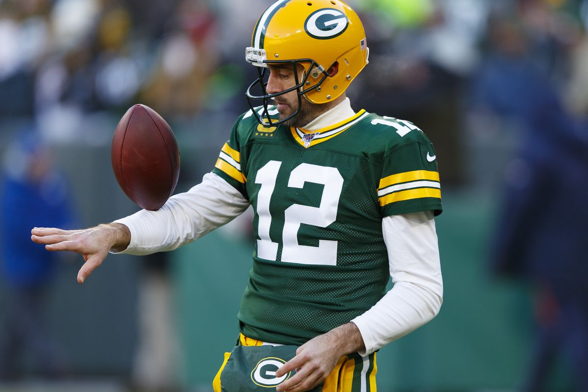 Green Bay Packers quarterback Aaron Rodgers during warmups prior to the game against the Chicago Bears at Lambeau Field.