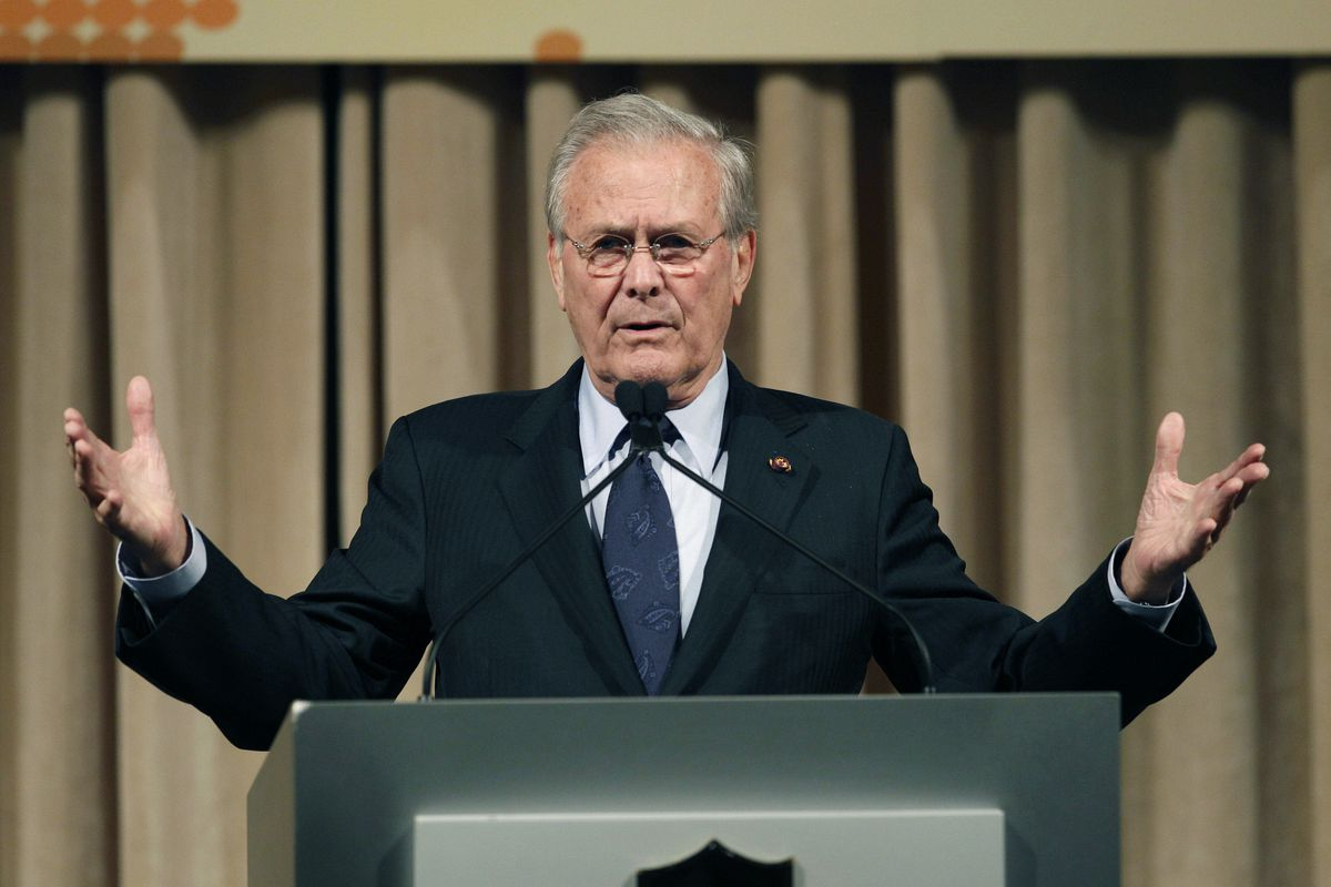 former U.S. Secretary of Defense Donald Rumsfeld speaks to politicians and academics during a luncheon on security in rising Asia, in Taipei, Taiwan.