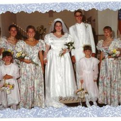 """From the tipster behind this image, """"My coworker had to wear this dress in a wedding for one of her high school classmates. It looks suspiciously like a repurposed Ralph Lauren bed sheet."""""""