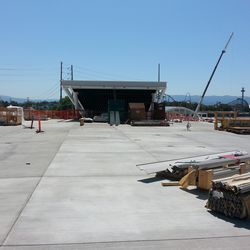 This is the main entrance. That is the end of where an escalator comes up from a pedestrian bridge. You can see the top of the bridge to the right of where that escalator is