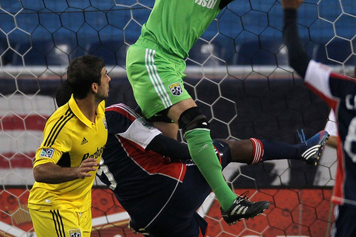 Crew goalie Andy Gruenebaum put in another strong performance against the Revolution, picking up his fifth shutout of the year.