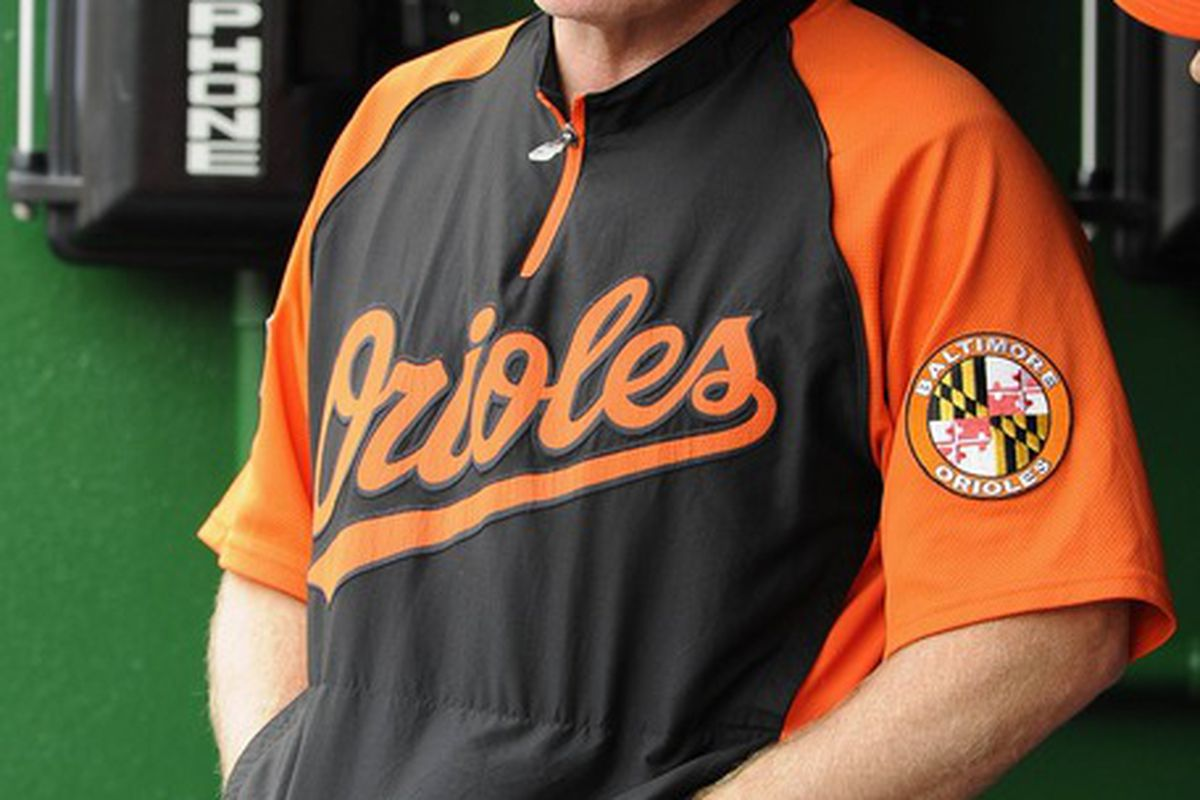May 20, 2012; Washington, DC, USA; Baltimore Orioles manager Buck Showalter stands in the dugout during the game against the Washington Nationals at Nationals Park. The Nationals won 9-3. Mandatory Credit: Brad Mills-US PRESSWIRE