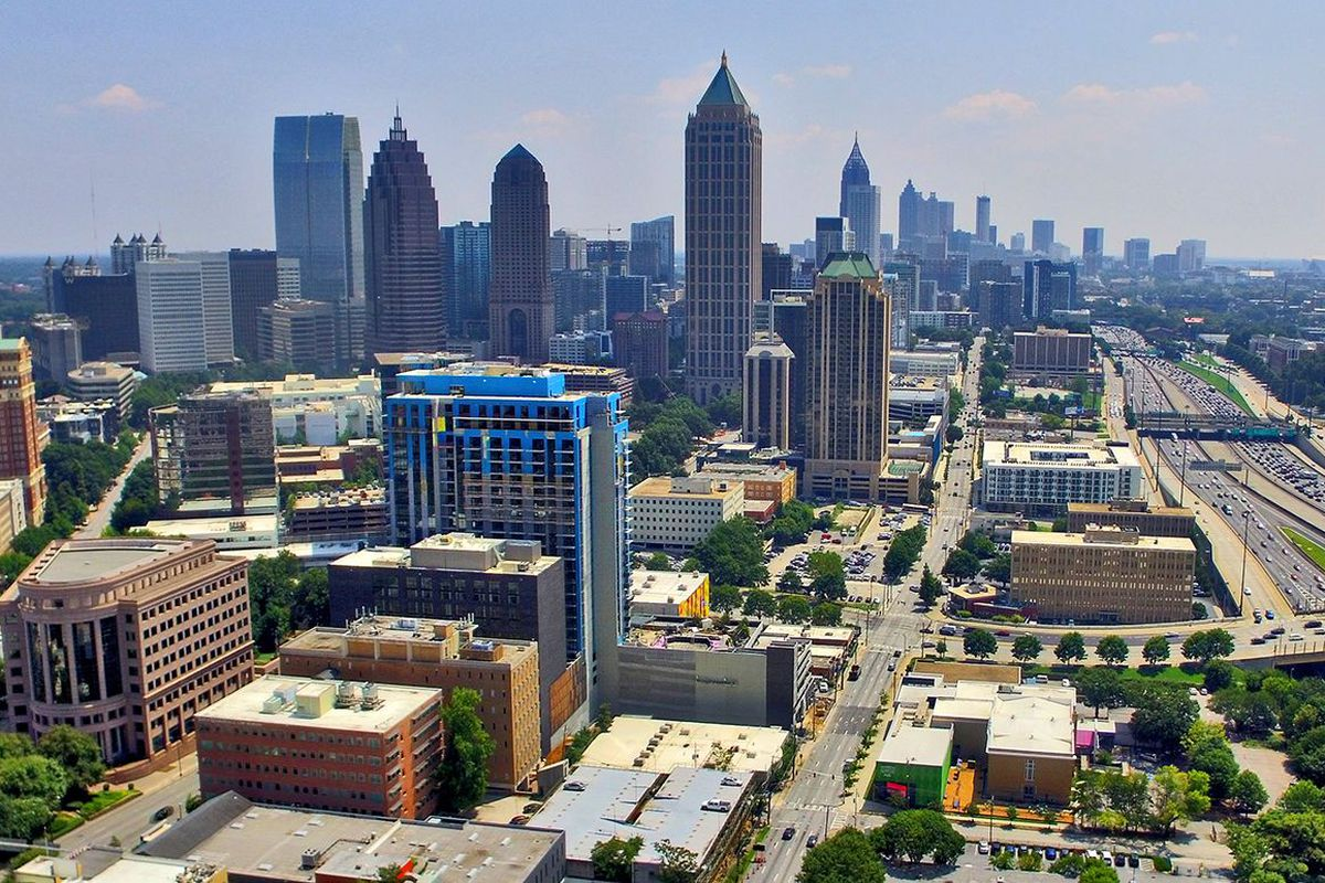 An aerial photo of Atlanta taken by drone.