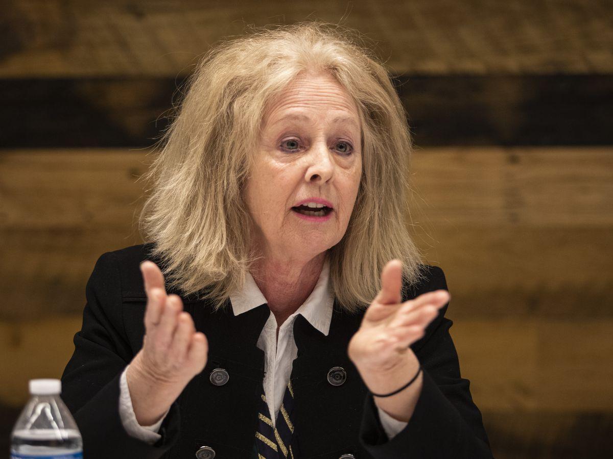 Margaret Stanton McBride addresses the Editorial Board. File Photo.
