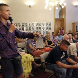 James Miska speaks in opposition to a proposed property tax increment reimbursement of up to $28 million for development of an inland port during a Salt Lake City Council Redevelopment Agency meeting at the City-County Building in Salt Lake City on Tuesday, Aug. 20, 2019.