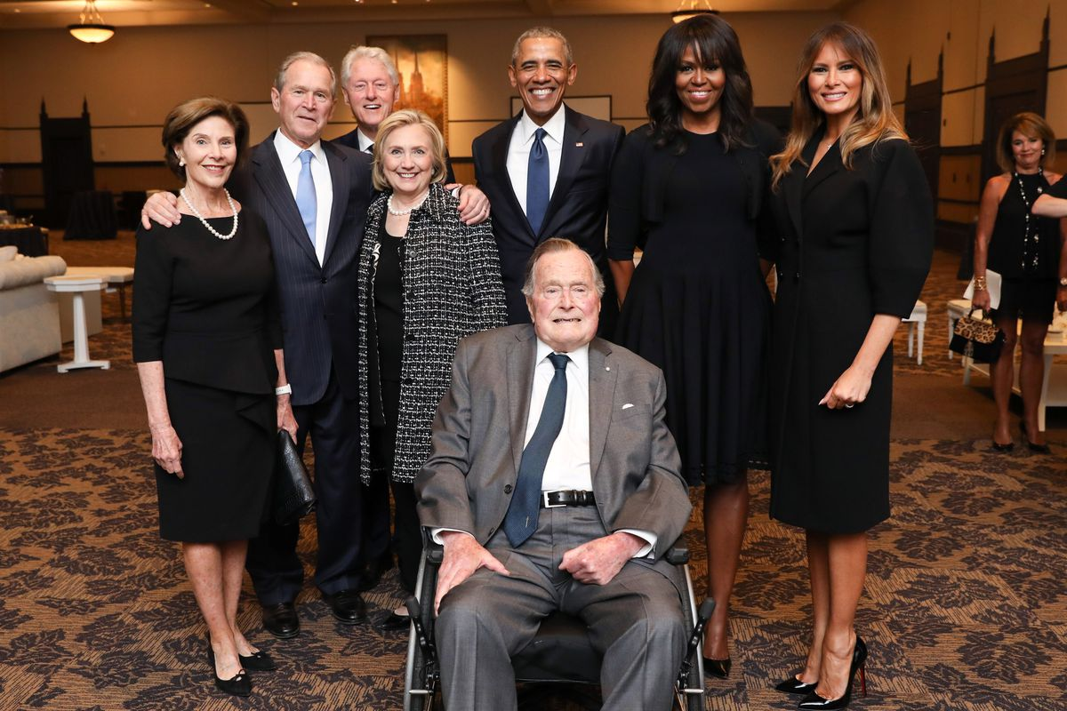 Former living presidents and first ladies pose for a photo at former First Lady Barbara Bush's funeral.