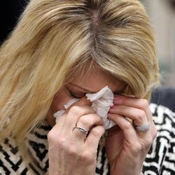 Amber Baum gets emotional while talking about losing her daughter to a heroin overdose during a press conference to launch a new campaign, Stop the Opidemic, at the Utah Department of Health in Salt Lake City on Wednesday, Jan. 25, 2017.