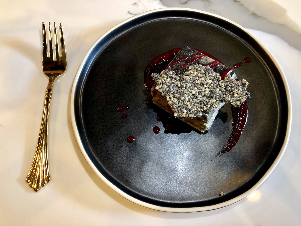 Black sesame chiffon cake with a raspberry finish from Ella Grace