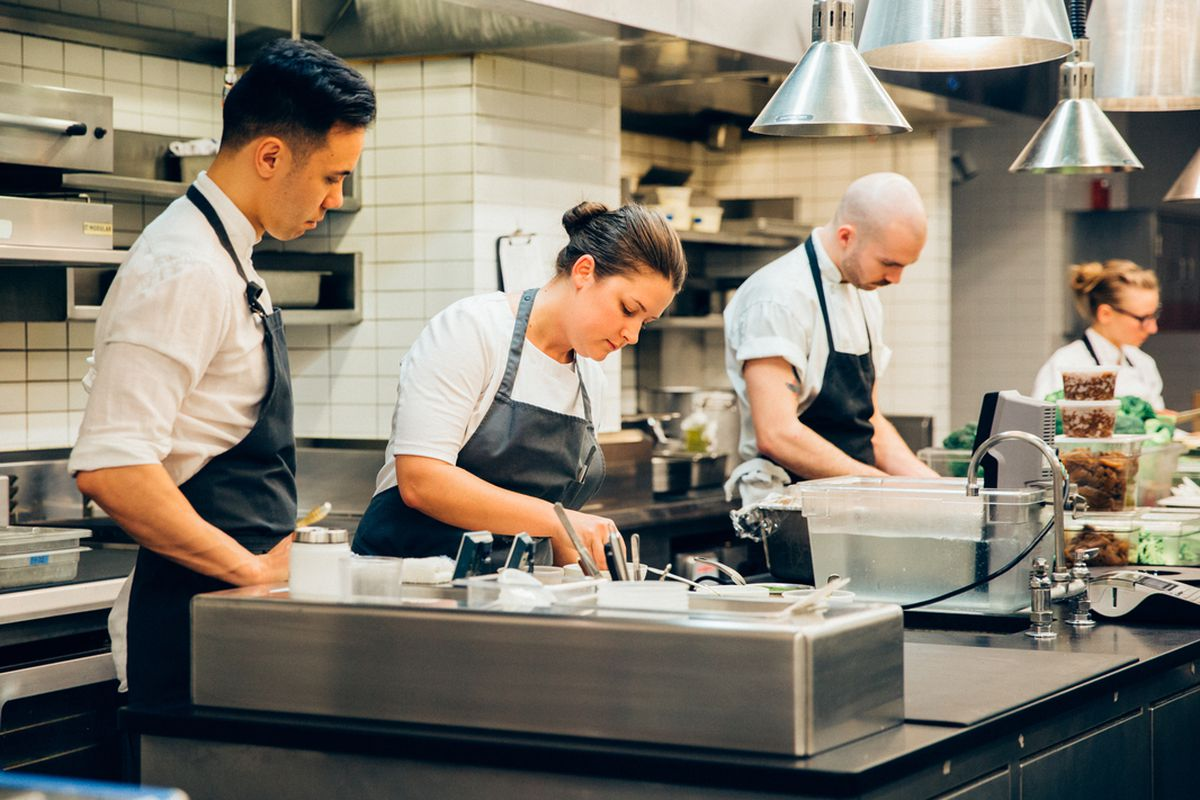 Stephen Gillanders and Jessica Largey in the Intro kitchen