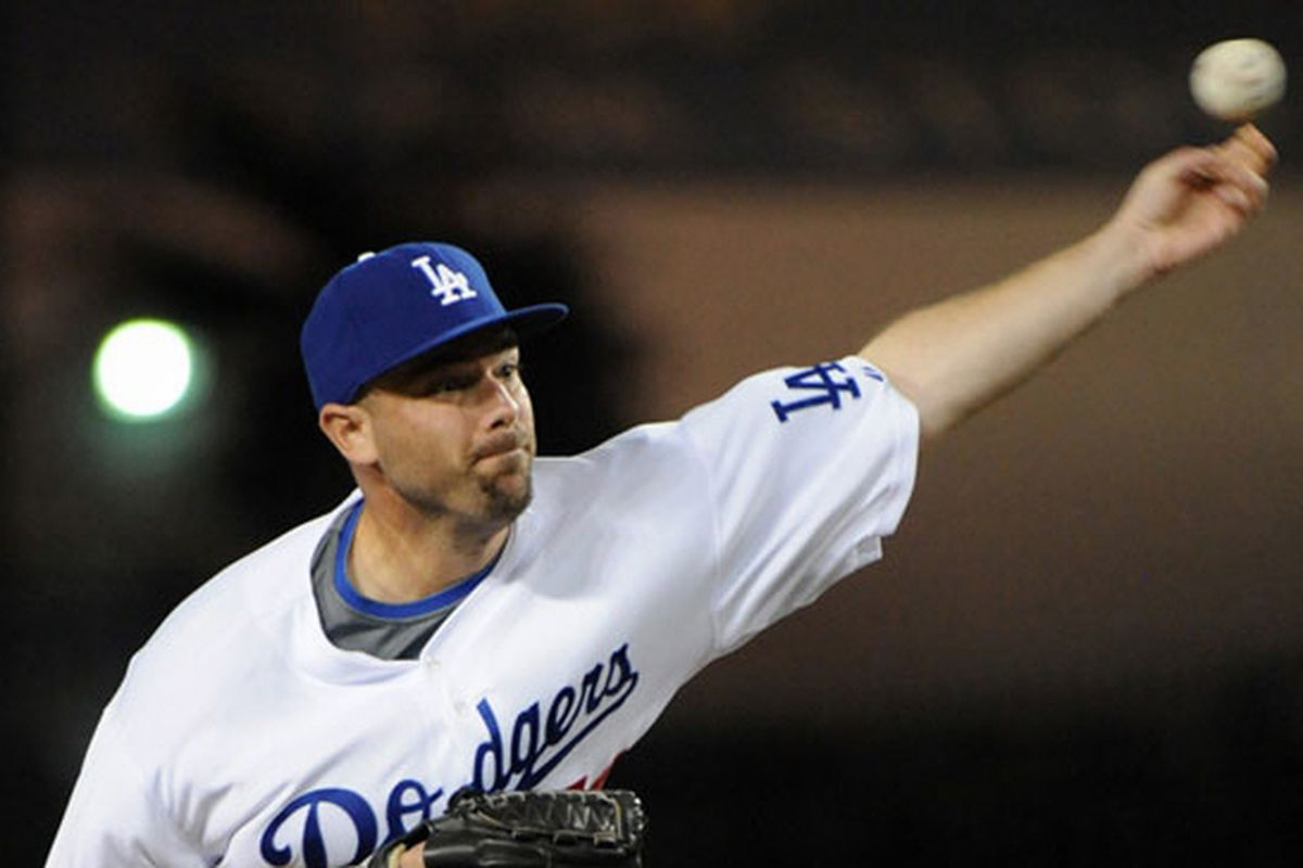 """George Sherrill has delivered the goods in the very early going of his Dodger career <em>(photo courtesy of Jon SooHoo / <a href=""""http://dodgers.mlb.com"""" target=""""new"""">Dodgers</a>)</em>"""