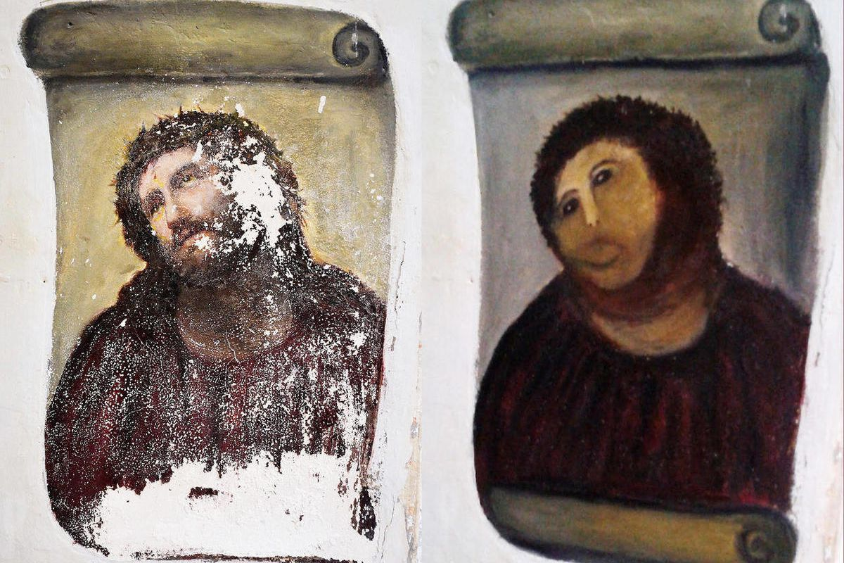 In this combination of two undated handout photos made available by the Centro de Estudios Borjanos, the 20th century Ecce Homo-style fresco of Christ, left and the 'restored' version, at right. Only a month has gone by since an 80-year-old artist won glo