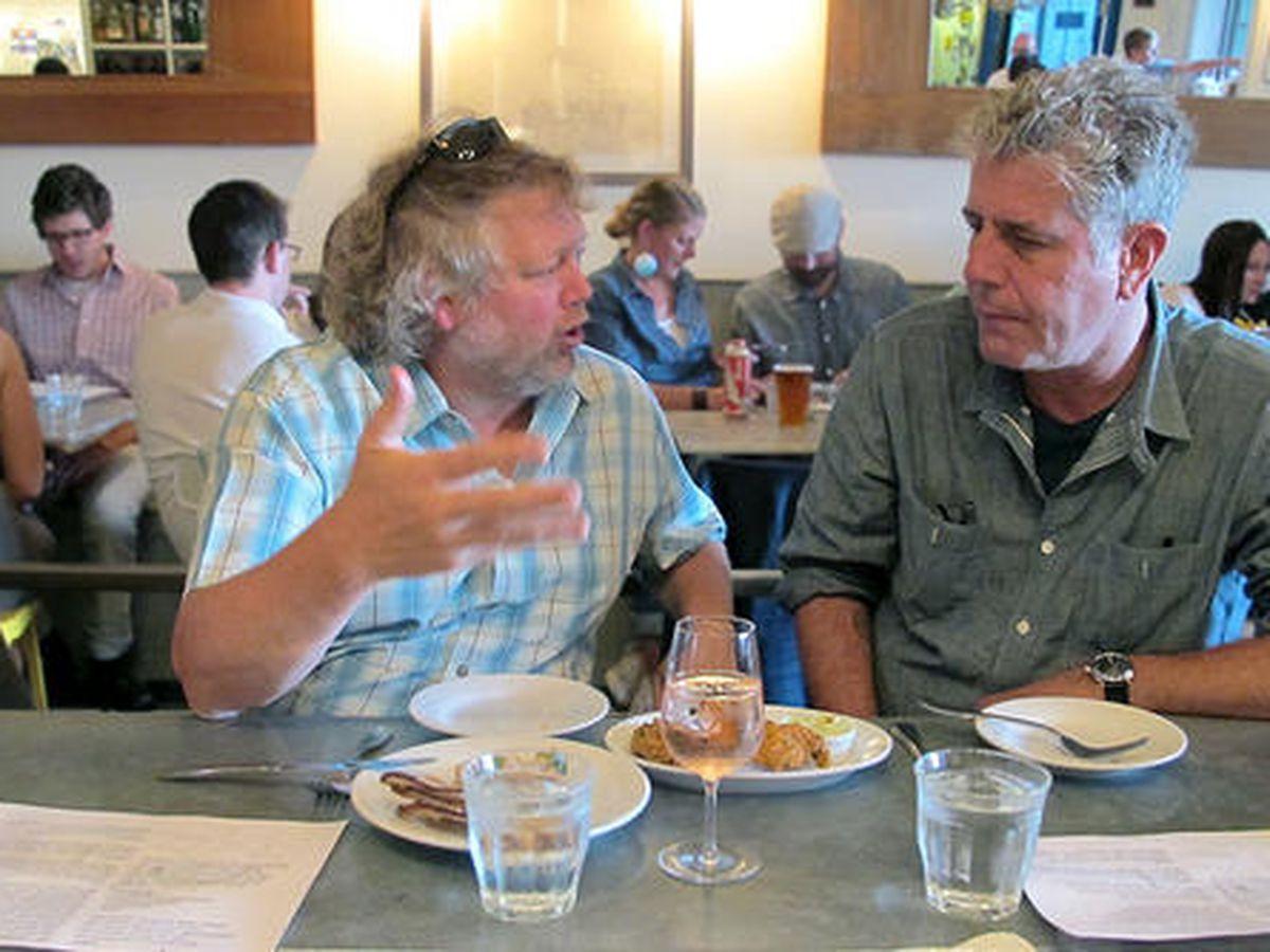Bourdain with Tom Douglas at Walrus & the Carpenter