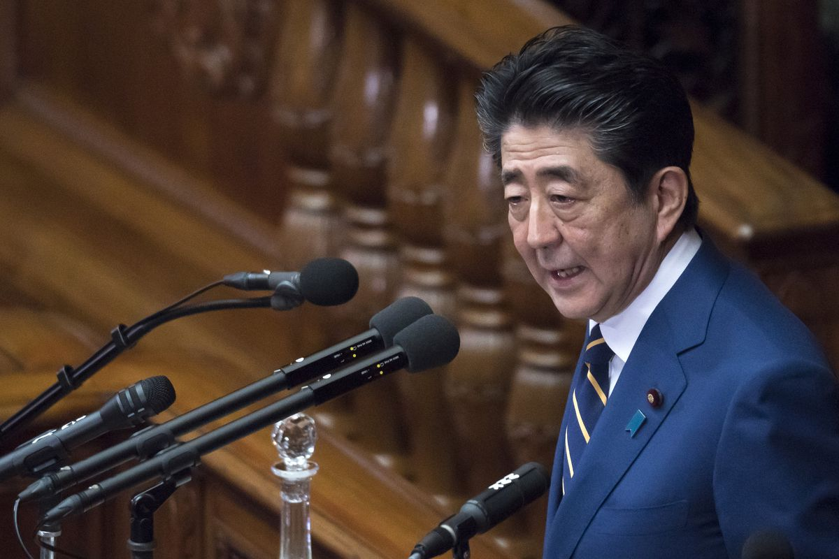 Japan's Prime Minister Shinzo Abe delivers his policy speech at the lower house of the parliament on January 20, 2020 in Tokyo, Japan. The Japanese Diet convened a 150-day ordinary session today.