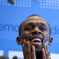 Jamaica's Usain Bolt answers questions during a media conference in Brussels on Thursday, Sept. 6, 2012. Bolt will run in Friday's Golden League Memorial Van Damme track and field meeting in Brussels.