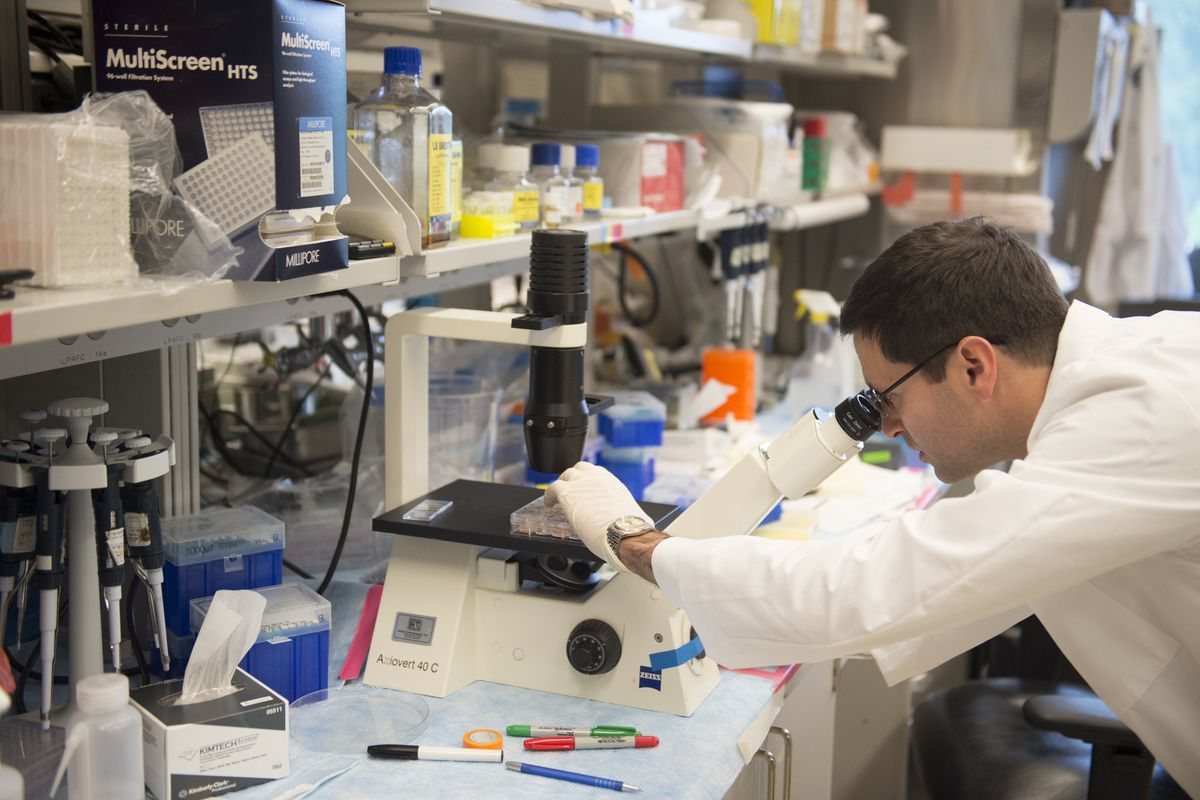 Photo of a scientist in a NIH lab performing cancer research