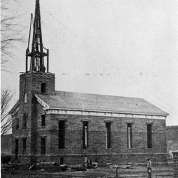 The St. George Tabernacle under construction in the 1860s.